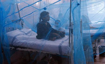 FILE PHOTO: A girl suffering from dengue fever sits under a mosquito net while seeking treatment at a hospital in Lahore September 20, 2011.  REUTERS/Mohsin Raza/File Photo