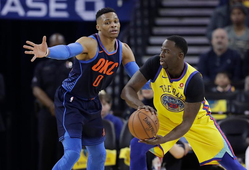 buy popular 3050f d6e55 Steph Curry defends Draymond Green, Russell Westbrook after ...
