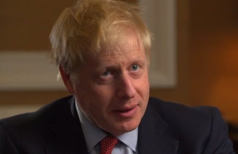 Boris Johnson refused to answer questions about the reported row at his home (Picture: BBC)
