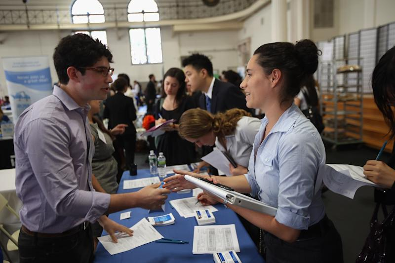 NEW YORK, NY - SEPTEMBER 07: Students meet with potential employers at the Barnard College Career Fair on September 7, 2012 in New York City. Barnard, which is the undergraduate women's college of Columbia University, hosted the job and internship fair with nearly 100 companies and organizations meeting with hundreds of Barnard and Columbia students looking for work. (Photo by John Moore/Getty Images)