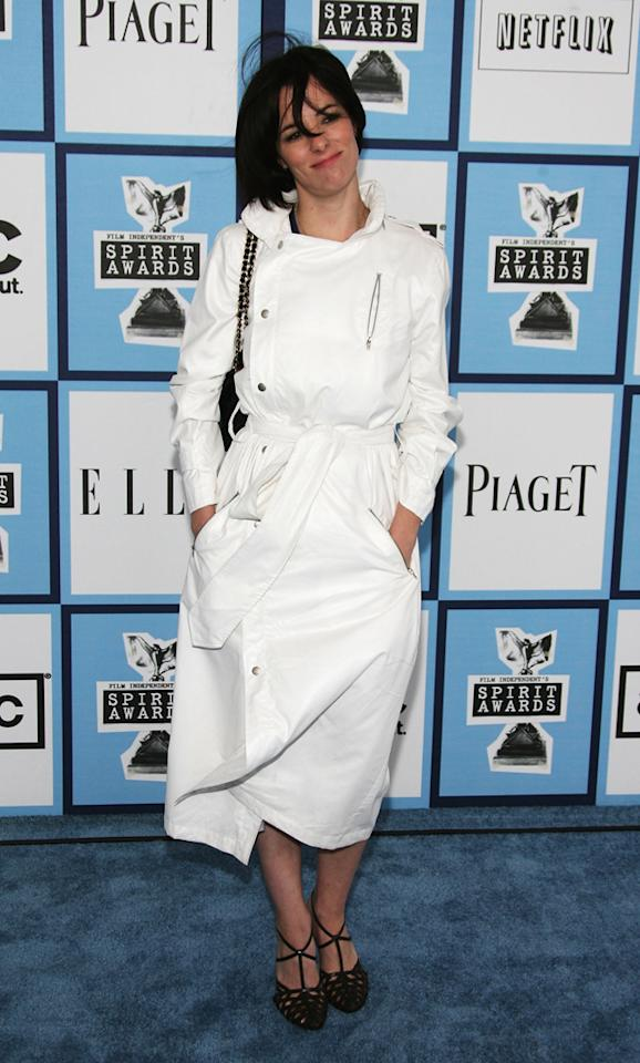 "Parker Posey, 2008<br><br>A true ""Party Girl"" would never be caught dead in such an unshapely trench dress."