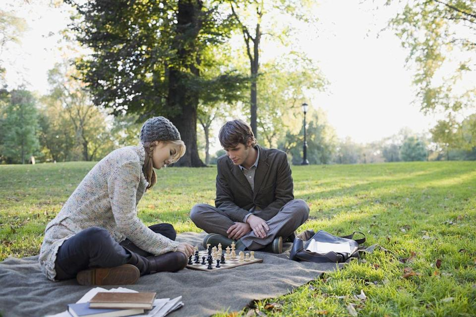 <p>Really. Play your favorite childhood game while sipping coffee or tea; the nostalgia can bring you together. Or play a game your date loves. </p>