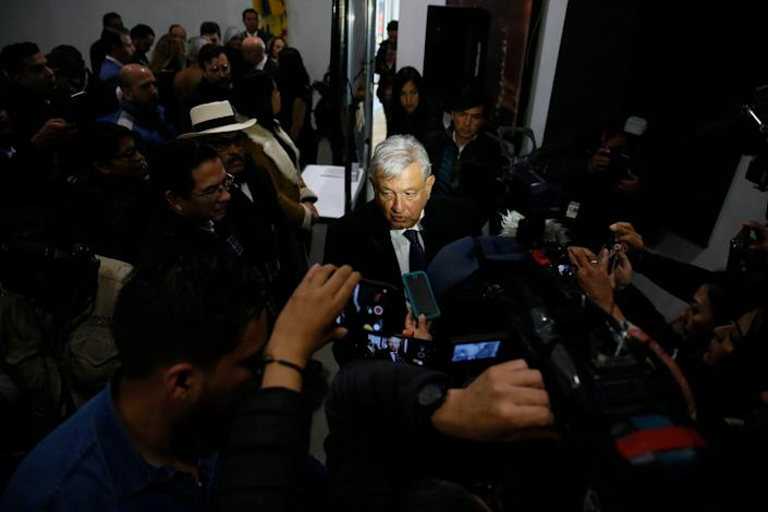 Mexican President Andrés Manuel López Obrador speaks at an event with more than 500 business leaders Friday, Jan. 10, 2020, at a maquiladora assembly factory in Juárez.