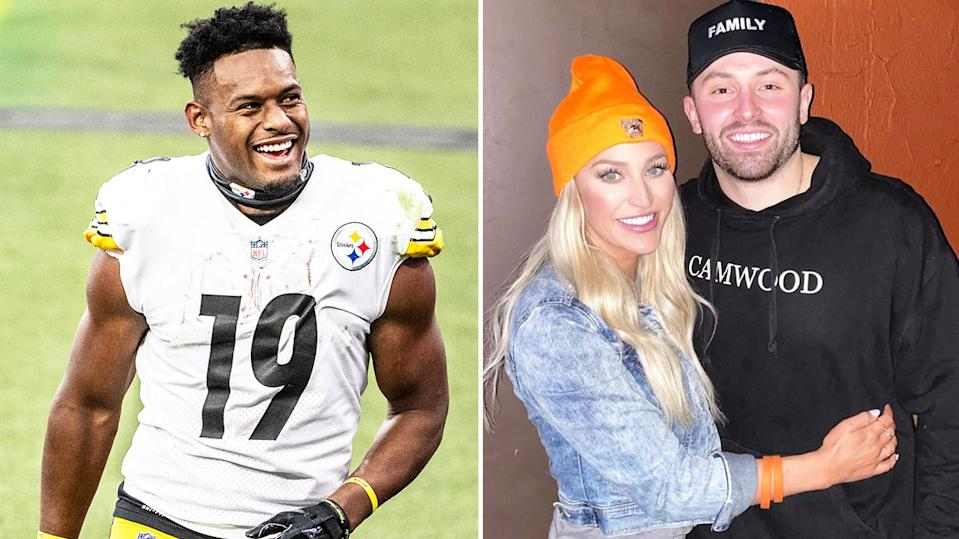 Emily Wilkinson hugging husband Baker Mayfield (pictured right) and Steelers' wide receiver JuJu Smith-Schuster (pictured left).