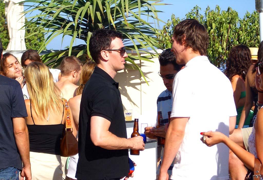 JC Chasez enjoys a beer with his buddies. omg! Staff/Polaroid Malibu Beach House - August 13, 2007