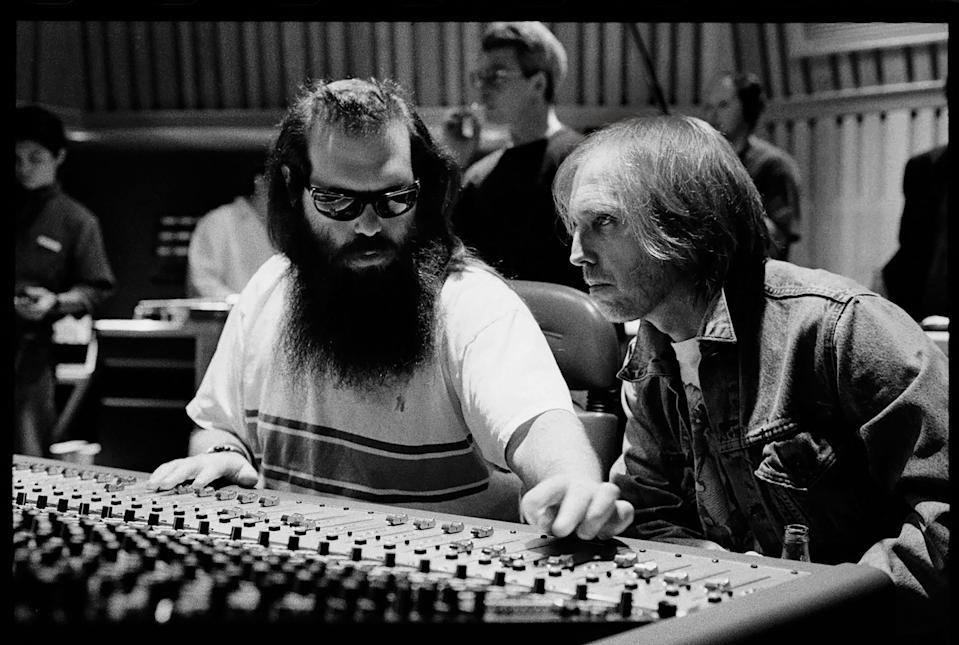 """Producer Rick Rubin, left, and Tom Petty in the studio during the making of """"Wildflowers."""""""