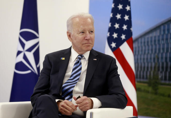 U.S. President Joe Biden meets with NATO Secretary General Jens Stoltenberg during a bilateral meeting on the sidelines of a NATO summit at NATO headquarters in Brussels, Monday, June 14, 2021. U.S. President Joe Biden is taking part in his first NATO summit, where the 30-nation alliance hopes to reaffirm its unity and discuss increasingly tense relations with China and Russia, as the organization pulls its troops out after 18 years in Afghanistan. (Stephanie Lecocq, Pool via AP)