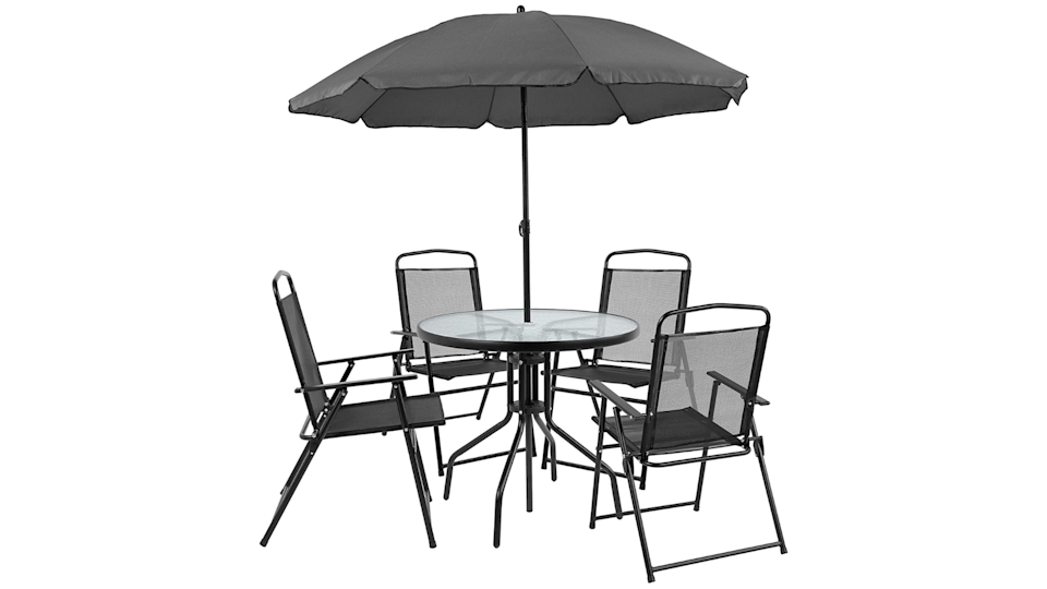 Go for a great starter set that includes everything you need: a table, chairs, and umbrella.
