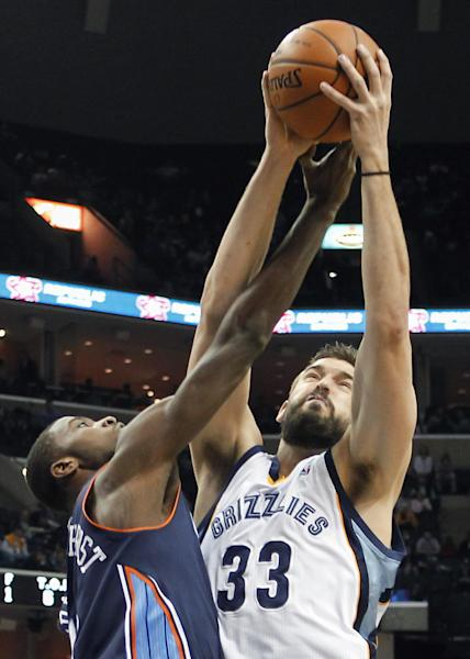 Memphis Grizzlies center Marc Gasol (33), of Spain, fights for a rebound against Charlotte Bobcats forward Michael Kidd-Gilchrist (14) in the first half of an NBA basketball game Saturday, March 8, 2014, in Memphis, Tenn. (AP Photo/Lance Murphey)