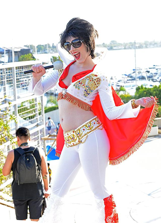 <p>Cosplayer dressed as Elvis Presley at Comic-Con International on July 19, 2018, in San Diego. (Photo: Albert L. Ortega/Getty Images) </p>