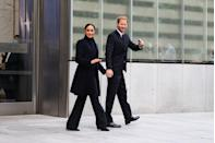 <p>Harry and Meghan were seen smiling as they departed from the site. </p>