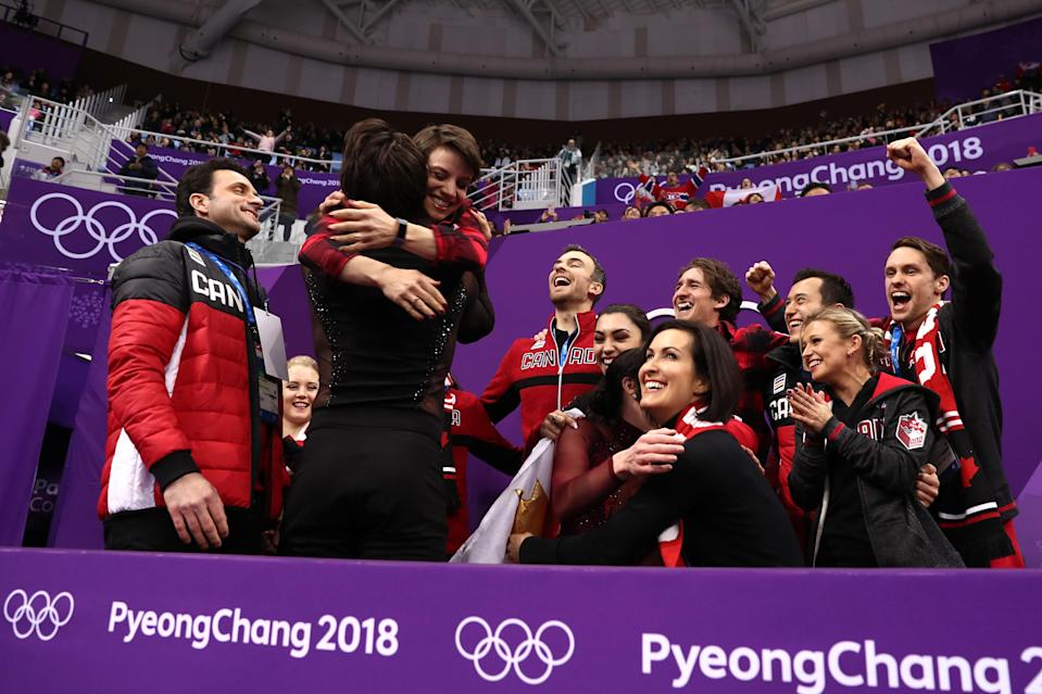<p>Tessa Virtue and Scott Moir of Canada react after receiving their score in the Figure Skating Team Event – Ice Dance Free Dance on day three of the PyeongChang 2018 Winter Olympic Games at Gangneung Ice Arena on February 12, 2018 in Gangneung, South Korea. (Photo by Richard Heathcote/Getty Images) </p>