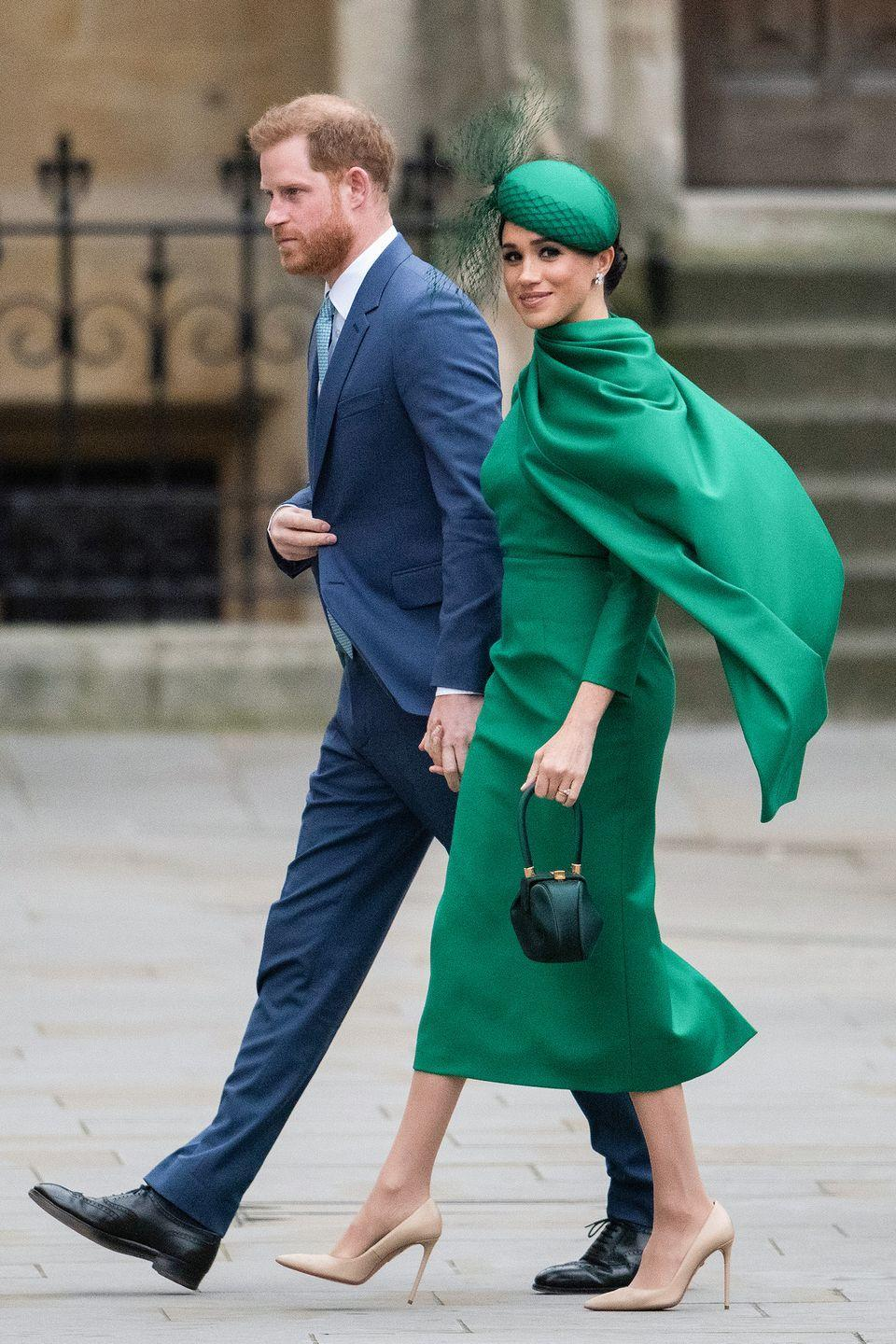 <p>For her last public engagement as a senior royal, Meghan wears an emerald green cape and hat to attend the Commonwealth Day Service.</p>