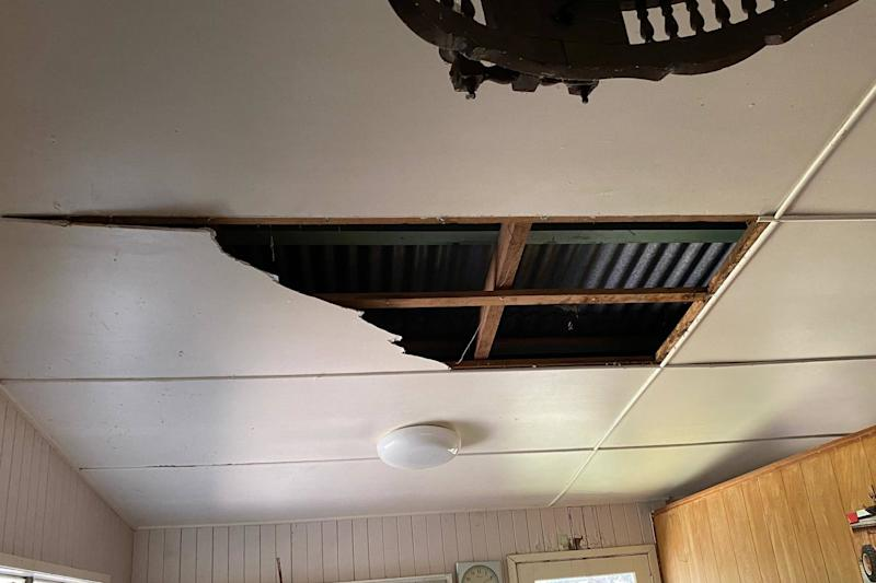 The damage to the kitchen ceiling after two snakes fell through (Steven Brown/Brisbane North Snake Catchers and Relocation)