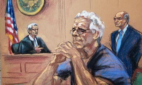 <strong>Court sketch of Jeffrey Epstein from last month.</strong> (Photo: REUTERS/Jane Rosenberg)
