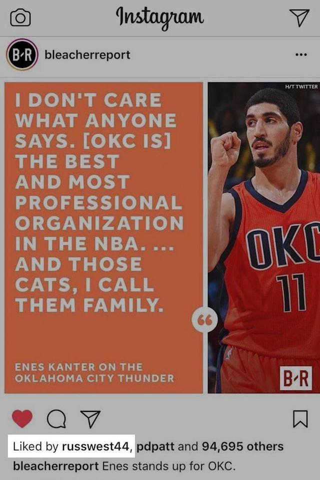 Russell Westbrook endorses Enes Kanter's pro-Thunder stance in opposition to Kevin Durant. (r/NBA)