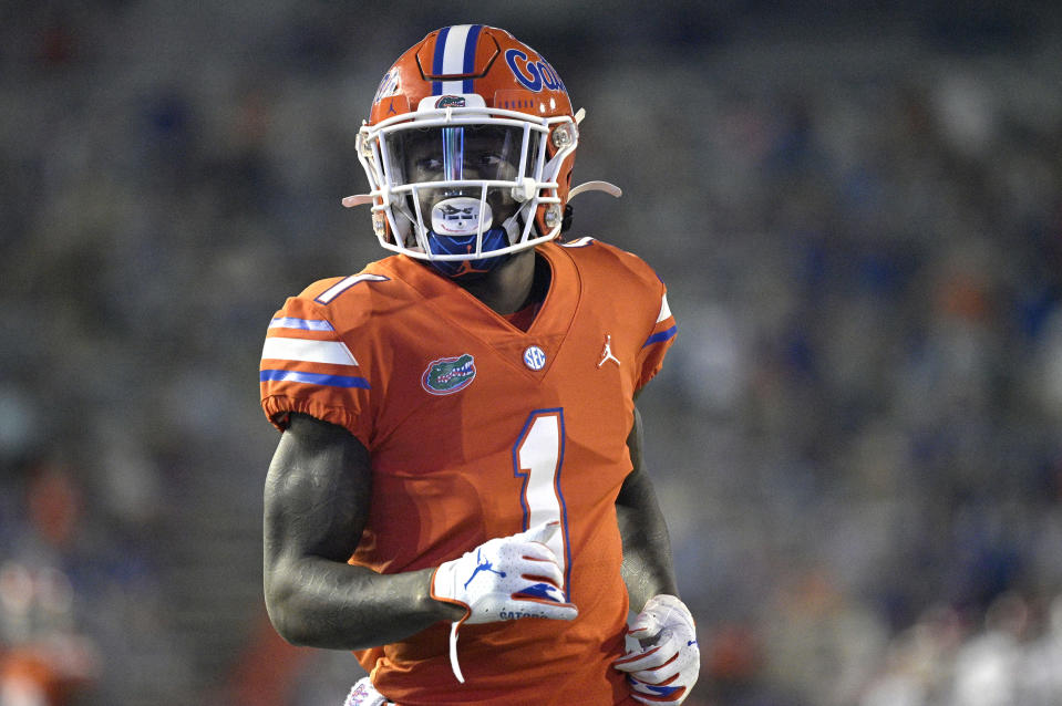 FILE - Florida wide receiver Kadarius Toney (1) sets up for a play during the first half of an NCAA college football game against Arkansas in Gainesville, Fla., in this Saturday, Nov. 14, 2020, file photo. Toney is a possible first round pick in the NFL Draft, April 29-May 1, 2021, in Cleveland. (AP Photo/Phelan M. Ebenhack, File)
