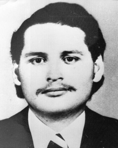 "FILE - Undated 1970s file of Illich Ramirez Sanchez, also known as "" Carlos The Jackal"", who was sentenced to life in prison by a French court in Paris early Wednesday Dec 24, 1997. Carlos, whose real name is Ilich Ramirez Sanchez, the flamboyant terrorist and self-proclaimed revolutionary who was once one of the Cold War's most wanted men, is appealing Monday May 13, 2013 his two life sentences for orchestrating bombings in France two decades ago. He's been jailed since 1994 after French agents seized him in Sudan. (AP Photo/French Police)"