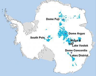 Locations (in blue) where 1.5-million-year-old Antarctic ice could lurk.