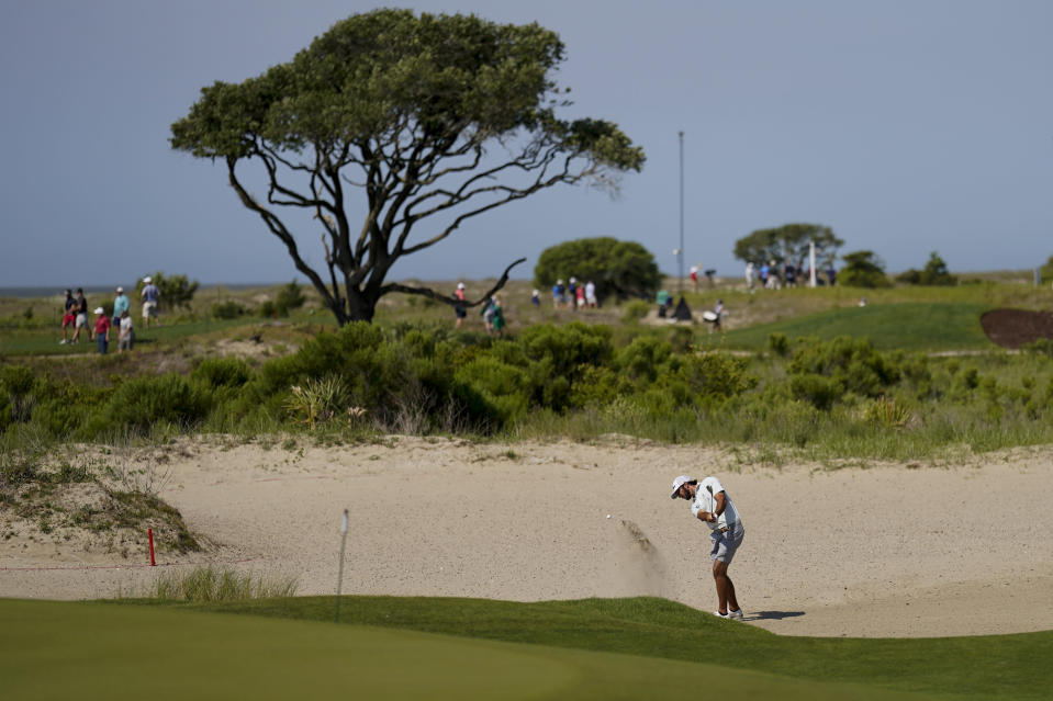 Max Homa hits from the bunker on the second hole during a practice round at the PGA Championship golf tournament on the Ocean Course Tuesday, May 18, 2021, in Kiawah Island, S.C. (AP Photo/David J. Phillip)