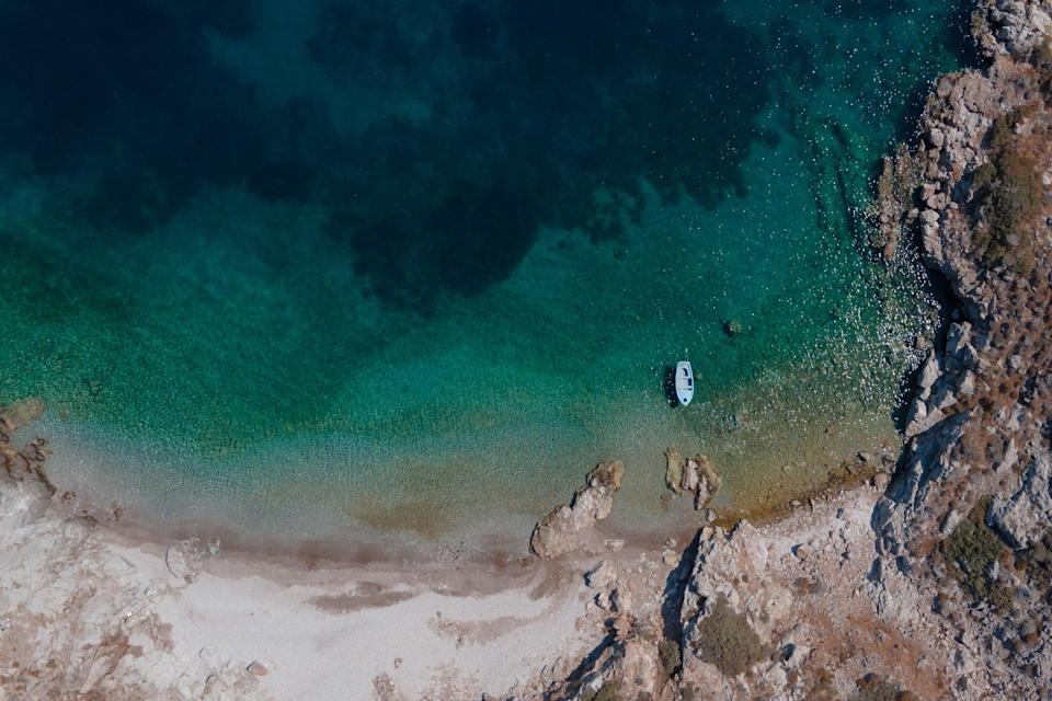 A bird's eye view of the Patmos coastlineUNSPLASH
