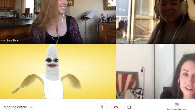 Anastasia is a banana in a video conference meeting.