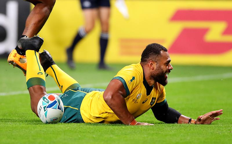 Samu Kerevi of Australia grounds the ball to score his side's fifth try. (Credit: Getty Images)