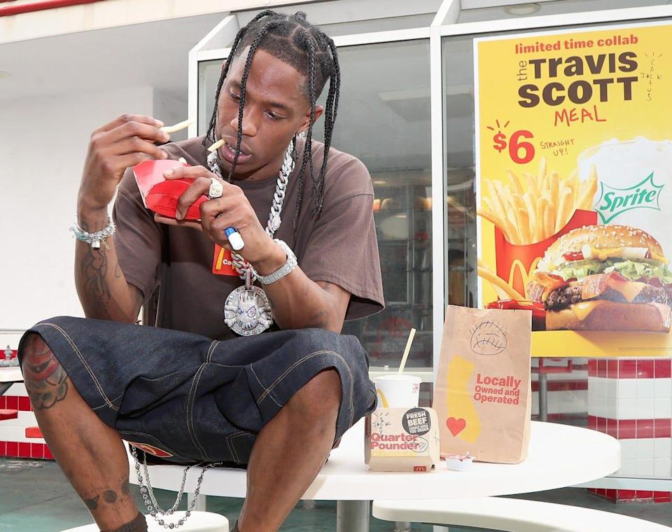 Travis Scott went to the oldest operating McDonald's in Downey, California, to order his limited-time collab at the fast-food chain.
