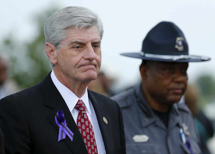"""The Mississippi governor&nbsp;faced a backlash in April when he signed his state&rsquo;s <a href=""""http://www.huffingtonpost.com/entry/mississippi-religious-freedom-bill_us_5703f13ce4b083f5c6090dfb"""" rel=""""nofollow noopener"""" target=""""_blank"""" data-ylk=""""slk:radical anti-LGBT bill"""" class=""""link rapid-noclick-resp"""">radical anti-LGBT bill</a> into law.&nbsp;<br><br>House Bill 1523 allows people with religious objections to <a href=""""http://www.huffingtonpost.com/entry/mississippi-religious-freedom-bill_us_5703f13ce4b083f5c6090dfb"""" rel=""""nofollow noopener"""" target=""""_blank"""" data-ylk=""""slk:deny wedding services"""" class=""""link rapid-noclick-resp"""">deny wedding services</a> to same-sex couples, and clears the way for employers to cite religion in determining workplace policies.<br><br>The <a href=""""http://www.huffingtonpost.com/entry/phil-bryant-anti-lgbt-law_us_574f15cce4b0c3752dcc26a4"""" rel=""""nofollow noopener"""" target=""""_blank"""" data-ylk=""""slk:Republican&nbsp;lawmaker slammed"""" class=""""link rapid-noclick-resp"""">Republican&nbsp;lawmaker slammed</a>&nbsp;the pushback he received from the &ldquo;secular, progressive world&rdquo; after he signed the bill, and compared much of the criticism he&rsquo;d received over House Bill 1523 to the various ways that &ldquo;Christians have been persecuted throughout the ages.&rdquo;<br><br>&ldquo;They don&rsquo;t know that if it takes crucifixion, we will stand in line before abandoning our faith and our belief in our Lord and Savior, Jesus Christ,&rdquo; he said. &ldquo;So if we are going to stand, now is the time and this is the place.&rdquo;&nbsp;<br><br><a href=""""http://www.huffingtonpost.com/entry/phil-bryant-anti-lgbt-law_us_574f15cce4b0c3752dcc26a4"""" rel=""""nofollow noopener"""" target=""""_blank"""" data-ylk=""""slk:Read more here"""" class=""""link rapid-noclick-resp"""">Read more here</a>."""