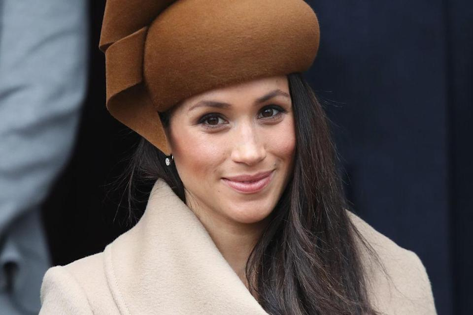 <p><strong>When. Dec. 25</strong><br>Meghan Markle appeared with Harry and the rest of the royal family at the Christmas day service and the 36-year-old stunned in a caramel toned hate and a long tan wrap luxury coat from Canadian brand Sentaler.<strong> (Click through for more!) </strong><em> (Photo: Getty)</em> </p>
