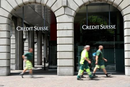 Logo of Swiss bank Credit Suisse is seen at a branch office in Zurich
