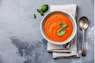 "<p>Heat 1 cup tomato soup. Serve with a sandwich made with 1 <a href=""https://www.amazon.com/Josephs-Whole-Wheat-Flour-Bread/dp/B01ENYJX3S?tag=syn-yahoo-20&ascsubtag=%5Bartid%7C10055.g.4351%5Bsrc%7Cyahoo-us"" rel=""nofollow noopener"" target=""_blank"" data-ylk=""slk:mini whole-wheat pita"" class=""link rapid-noclick-resp"">mini whole-wheat pita</a>, 3 ounces thinly sliced roast beef, 1 teaspoon horseradish, mustard, tomato slices, and lettuce. Eat with 2 cups raw veggies and 1/4 cup of hummus.</p><p><strong>RELATED: <a href=""https://www.goodhousekeeping.com/food-products/g32613278/best-canned-soups/"" rel=""nofollow noopener"" target=""_blank"" data-ylk=""slk:The Best Canned Healthy Soups, According to a Nutritionist"" class=""link rapid-noclick-resp"">The Best Canned Healthy Soups, According to a Nutritionist</a></strong></p>"