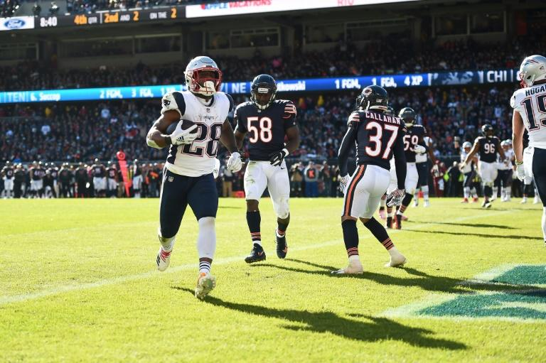 New England's James White scores a fourth-quarter touchdown in the Patriots' NFL victory over the Chicago Bears