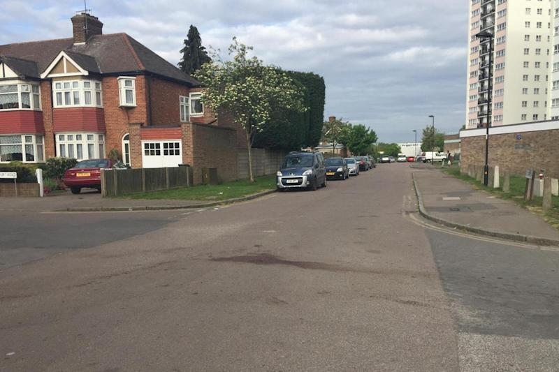 A patch of blood at the scene in Enfield where the victim was stabbed to death.