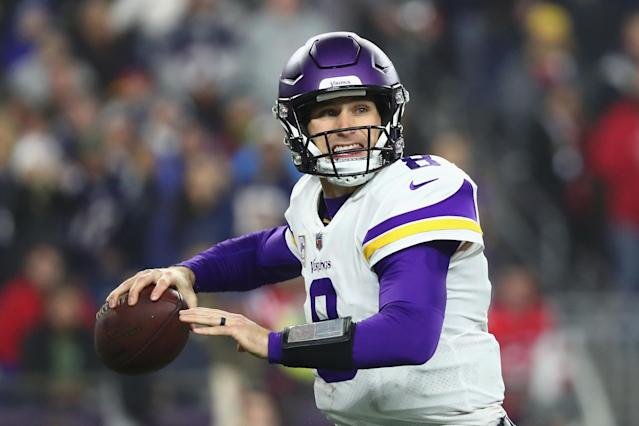 "<a class=""link rapid-noclick-resp"" href=""/nfl/players/25812/"" data-ylk=""slk:Kirk Cousins"">Kirk Cousins</a> and the <a class=""link rapid-noclick-resp"" href=""/nfl/teams/min"" data-ylk=""slk:Vikings"">Vikings</a> are currently in the last playoff spot in the NFC. (Getty Images)"