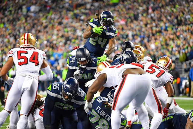 """<a class=""""link rapid-noclick-resp"""" href=""""/nfl/teams/seattle/"""" data-ylk=""""slk:Seahawks"""">Seahawks</a> fans celebrated a Marshawn Lynch score in appropriate fashion on Sunday. (Alika Jenner/Getty Images)"""