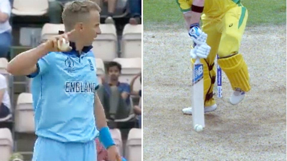 Curran appeals after catching Steve Smith. (Images: Fox Sports)