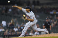 Houston Astros pitcher Luis Garcia throws against the Detroit Tigers in the sixth inning of a baseball game in Detroit, Thursday, June 24, 2021. (AP Photo/Paul Sancya)