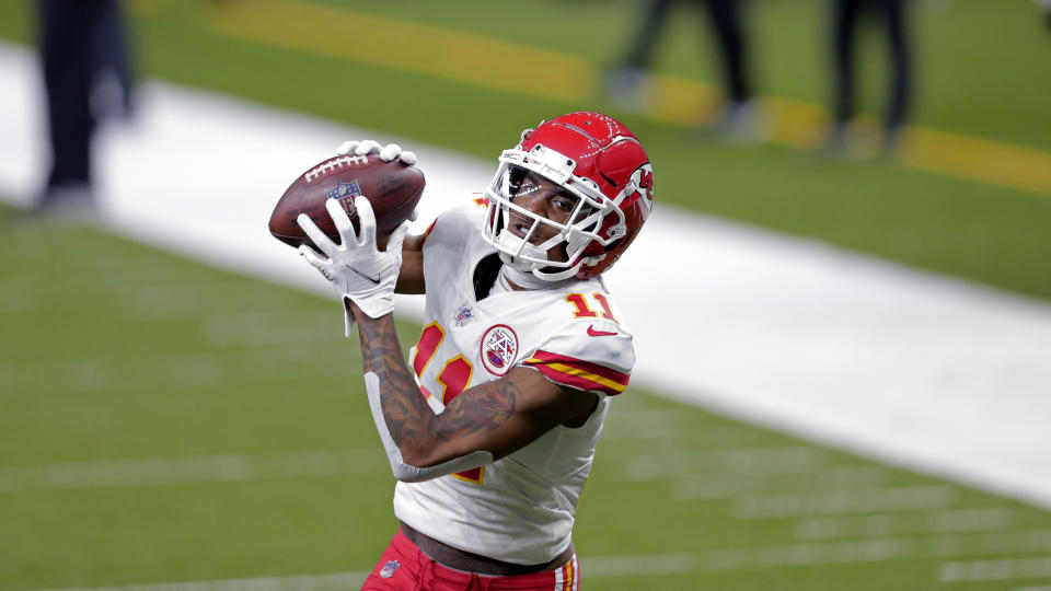 Kansas City Chiefs wide receiver Demarcus Robinson (11) warms up before an NFL football game against the New Orleans Saints in New Orleans, Sunday, Dec. 20, 2020. (AP Photo/Brett Duke)