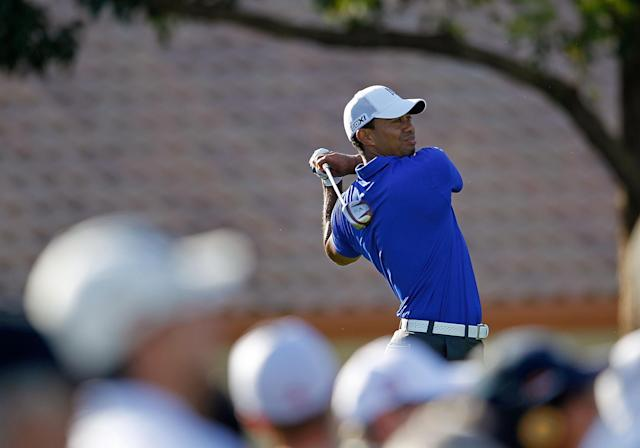 PALM BEACH GARDENS, FL - MARCH 02: Tiger Woods hits his tee shot on the 14th hole during the second round of the Honda Classic at PGA National on March 2, 2012 in Palm Beach Gardens, Florida. (Photo by Mike Ehrmann/Getty Images)
