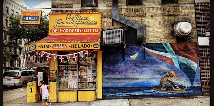 No neighborhood would be complete without a corner bodega. Re-created with products suggested by the father of producer and star Lin-Manuel Miranda, tin ceilings and fake grime were added for an authentic aged quality.