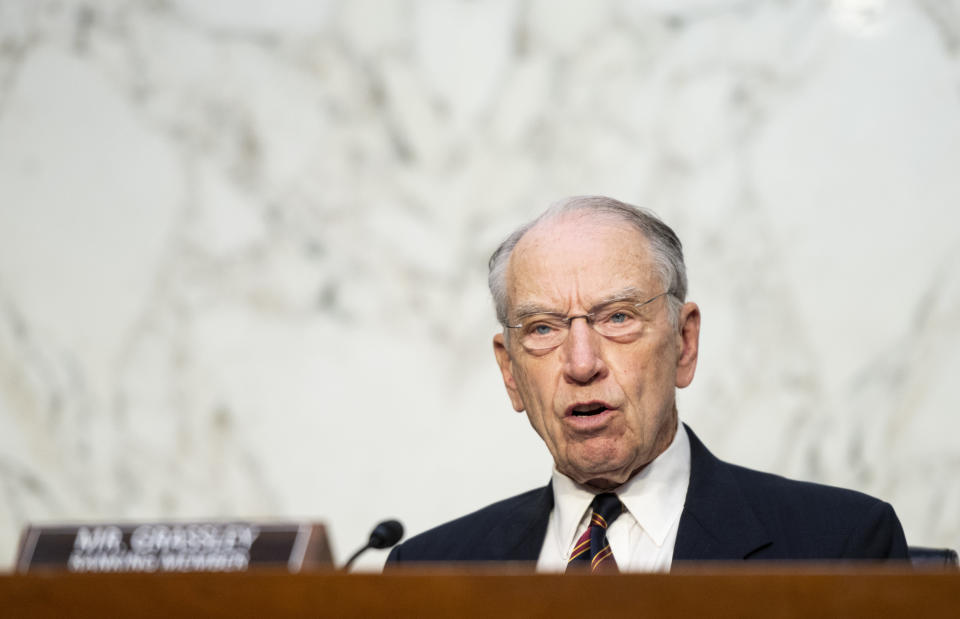Senate Judiciary Committee Ranking Member Chuck Grassley, R-Iowa, speaks during a Senate Judiciary Committee hearing on voting rights on Capitol Hill in Washington, Tuesday, April 20, 2021. (Bill Clark/Pool via AP)