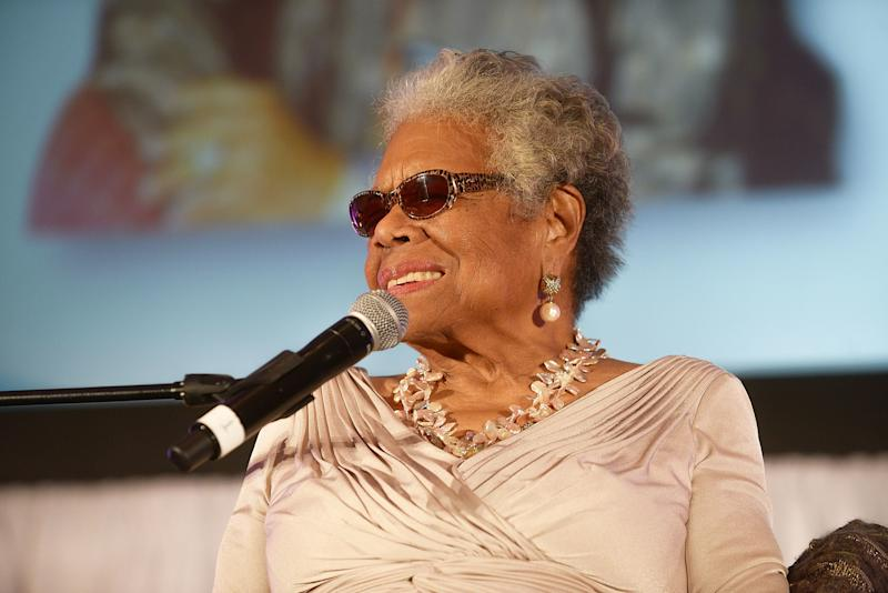 The monuments were stolen from a park in Stamps, Arkansas, that had been dedicated to the late author and poet, Maya Angelou, seen here in 2014. (Paras Griffin via Getty Images)