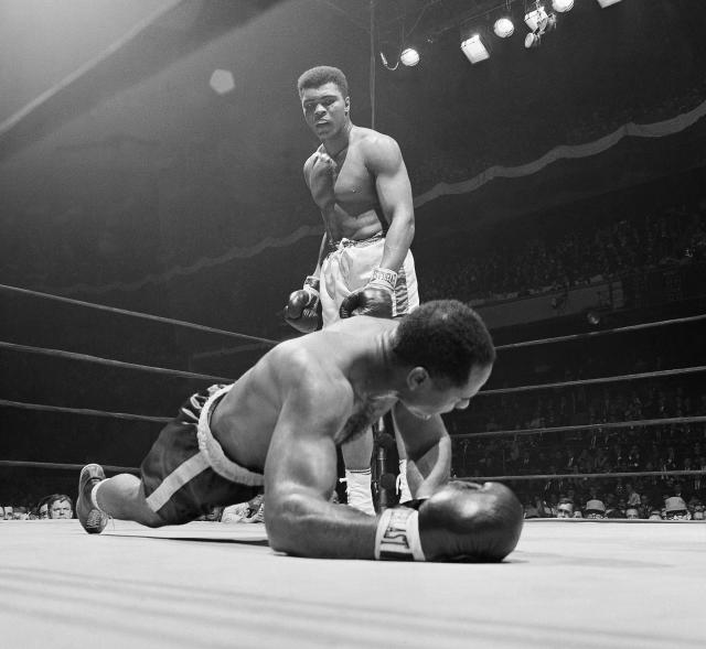 Cassius Clay (Muhammad Ali) knocked out Zora Folley in the seventh round at Madison Square Garden on March 22, 1967. (AP Photo)