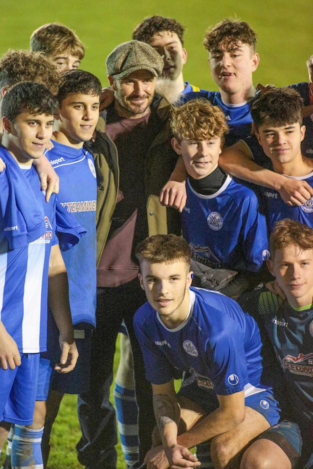 """Clevedon Town tweeted following the match: """"David Beckham it was an absolute pleasure having you watch our U18s tonight."""" (Jon Mills / SWNS)"""