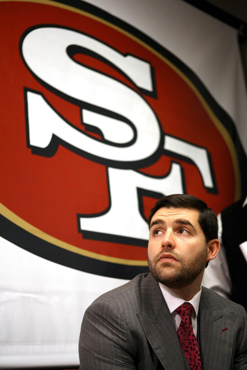 The San Francisco 49ers' CEO and team president Jed York looks on after introducing their new interim head coach,  Jim Tomsula  at a press conference at team headquarters, Monday, Dec.  27, 2010 in Santa Clara, Calif. Tomsula will replace Mike Singletary, (AP Photo/Dino Vournas)