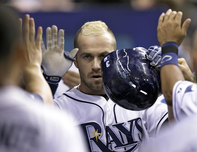 Tampa Bay Rays' Evan Longoria high fives teammates in the dugout after his two-run home run off Pittsburgh Pirates starting pitcher Jeff Locke during the eighth inning of an interleague baseball game Tuesday, June 24, 2014, in St. Petersburg, Fla. Rays' Brandon Guyer also scored. (AP Photo/Chris O'Meara)