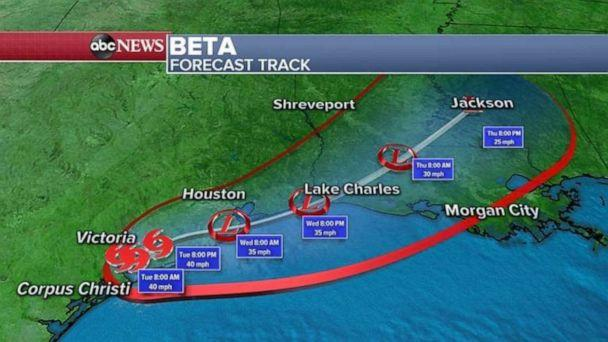 PHOTO: Over the next 24 hours, Beta is not expected to move and a lot more rain is expected to accumulate in these areas. (ABC News)