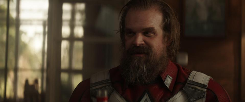 """Alexei (David Harbour) is Russia's answer to Captain America in """"Black Widow."""""""