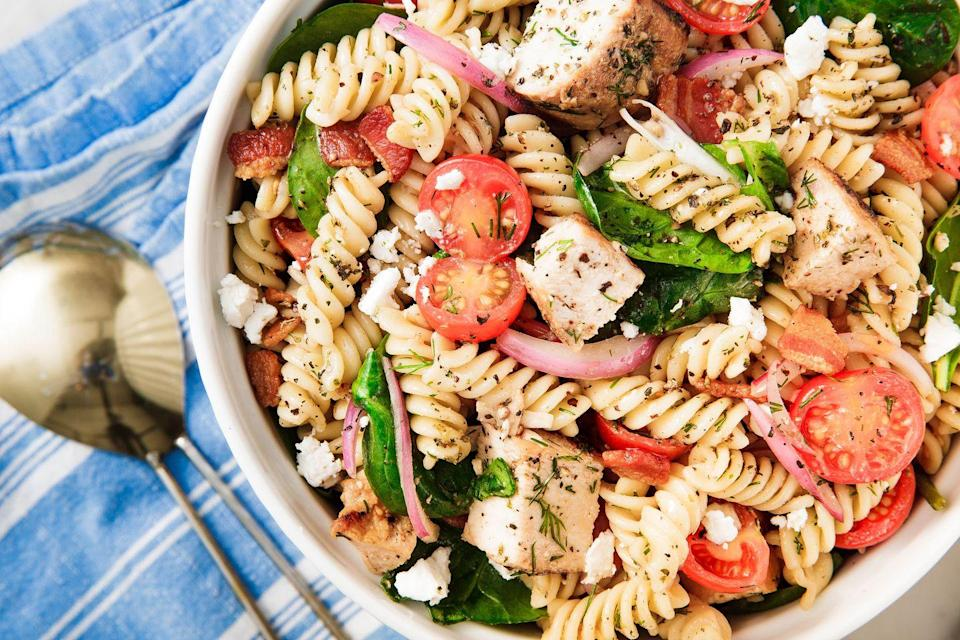 """<p>Prepare your guests to party. And there are plenty more <a href=""""https://www.delish.com/cooking/g1341/pasta-salad/"""" rel=""""nofollow noopener"""" target=""""_blank"""" data-ylk=""""slk:pasta salads"""" class=""""link rapid-noclick-resp"""">pasta salads </a>where this came from.</p><p>Get the recipe from <a href=""""https://www.delish.com/cooking/recipe-ideas/a19601468/easy-pasta-salad-recipe/"""" rel=""""nofollow noopener"""" target=""""_blank"""" data-ylk=""""slk:Delish"""" class=""""link rapid-noclick-resp"""">Delish</a>.</p>"""